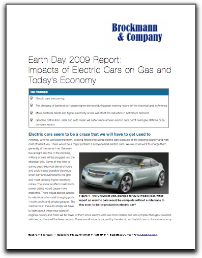 Earth Day 2009 Report: Impacts of Electric Cars on Gas and Today's Economy