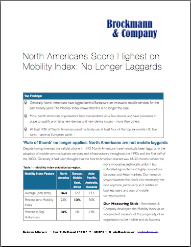 North Americans Score Highest on Mobility Index: No Longer Laggards